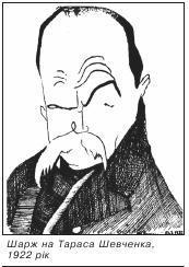 Шарж на Тараса Шевченка, 1922 рік