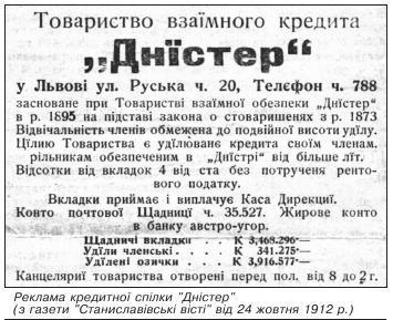 """Реклама кредитної спілки """"Дністер"""" (з газети """"Станиславівські вісті"""" від 24 жовтня 1912 р.)"""