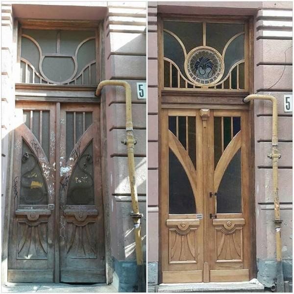 Двері на вул. Курбаса, 5 до і після реставрації