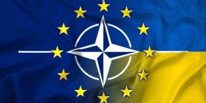 Waving Nato, EU and Ukraine Flag